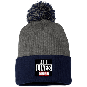 CustomCat Hats Navy/Dark Heather / One Size All Lives MAGA SP15 Pom Pom Knit Cap (12 Variants)