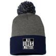 Load image into Gallery viewer, CustomCat Hats Navy/Dark Heather / One Size All Lives Matter SP15 Pom Pom Knit Cap (12 Variants)