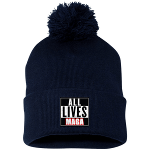 CustomCat Hats Navy/ / One Size All Lives MAGA SP15 Pom Pom Knit Cap (12 Variants)