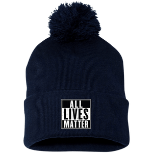 CustomCat Hats Navy/ / One Size All Lives Matter SP15 Pom Pom Knit Cap (12 Variants)