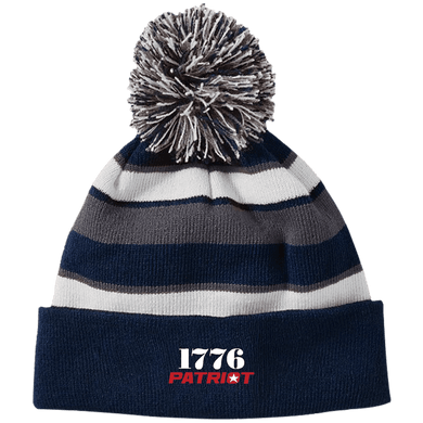 CustomCat Hats Navy/White / One Size 1776 Patriot Striped Beanie with Pom (8 Variants)