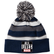 Load image into Gallery viewer, CustomCat Hats Navy/White / One Size All Lives MAGA Striped Beanie with Pom (8 Variants)