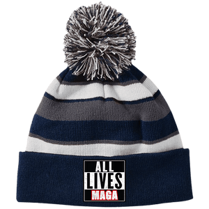 CustomCat Hats Navy/White / One Size All Lives MAGA Striped Beanie with Pom (8 Variants)