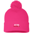 Load image into Gallery viewer, CustomCat Hats Neon Pink / One Size 1776 Patriot SP15 Pom Pom Knit Cap (12 Variants)