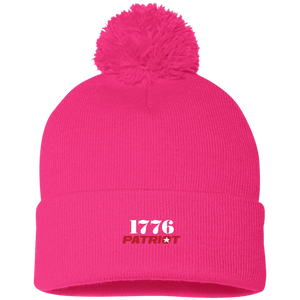 CustomCat Hats Neon Pink / One Size 1776 Patriot SP15 Pom Pom Knit Cap (12 Variants)