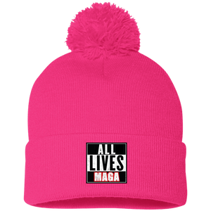 CustomCat Hats Neon Pink / One Size All Lives MAGA SP15 Pom Pom Knit Cap (12 Variants)
