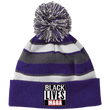 Load image into Gallery viewer, CustomCat Hats Purple/White / One Size All Lives MAGA Striped Beanie with Pom (8 Variants)
