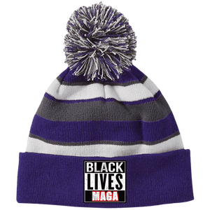 CustomCat Hats Purple/White / One Size All Lives MAGA Striped Beanie with Pom (8 Variants)