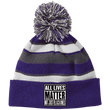 Load image into Gallery viewer, CustomCat Hats Purple/White / One Size All Lives Matter Not Just Black Ones Striped Beanie with Pom (8 Variants)