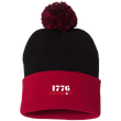 Load image into Gallery viewer, CustomCat Hats Red/Black / One Size 1776 Patriot SP15 Pom Pom Knit Cap (12 Variants)