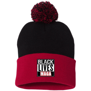 CustomCat Hats Red/Black / One Size All Lives MAGA SP15 Pom Pom Knit Cap (12 Variants)