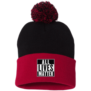 CustomCat Hats Red/Black / One Size All Lives Matter SP15 Pom Pom Knit Cap (12 Variants)