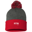 Load image into Gallery viewer, CustomCat Hats Red/Dark Heather / One Size 1776 Patriot SP15 Pom Pom Knit Cap (12 Variants)