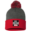 Load image into Gallery viewer, CustomCat Hats Red/Dark Heather / One Size All Lives MAGA SP15 Pom Pom Knit Cap (12 Variants)
