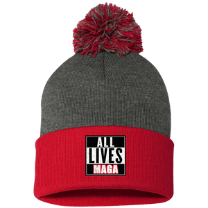 CustomCat Hats Red/Dark Heather / One Size All Lives MAGA SP15 Pom Pom Knit Cap (12 Variants)