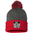 Load image into Gallery viewer, CustomCat Hats Red/Dark Heather / One Size All Lives Matter SP15 Pom Pom Knit Cap (12 Variants)