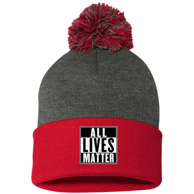 CustomCat Hats Red/Dark Heather / One Size All Lives Matter SP15 Pom Pom Knit Cap (12 Variants)