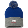 Load image into Gallery viewer, CustomCat Hats Royal/Heather Grey / One Size 1776 Patriot SP15 Pom Pom Knit Cap (12 Variants)