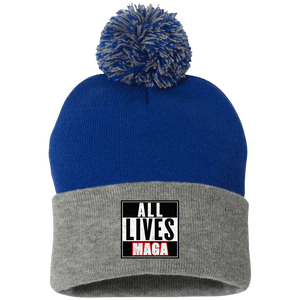 CustomCat Hats Royal/Heather Grey / One Size All Lives MAGA SP15 Pom Pom Knit Cap (12 Variants)