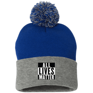 CustomCat Hats Royal/Heather Grey / One Size All Lives Matter SP15 Pom Pom Knit Cap (12 Variants)