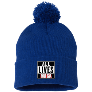 CustomCat Hats Royal / One Size All Lives MAGA SP15 Pom Pom Knit Cap (12 Variants)