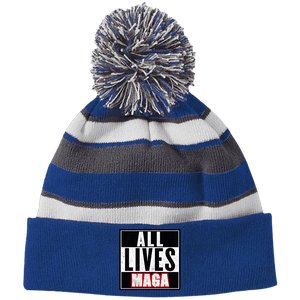 CustomCat Hats Royal/White / One Size All Lives MAGA Striped Beanie with Pom (8 Variants)