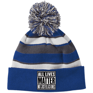 CustomCat Hats Royal/White / One Size All Lives Matter Not Just Black Ones Striped Beanie with Pom (8 Variants)