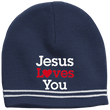 Load image into Gallery viewer, CustomCat Hats True Navy/White / One Size Jesus Loves You Red Loves White Text Beanie (3 Variants)