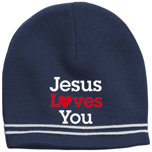 CustomCat Hats True Navy/White / One Size Jesus Loves You Red Loves White Text Beanie (3 Variants)