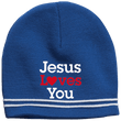 Load image into Gallery viewer, CustomCat Hats True Royal/White / One Size Jesus Loves You Red Loves White Text Beanie (3 Variants)
