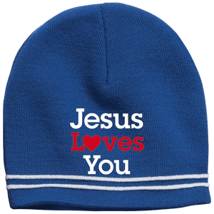 CustomCat Hats True Royal/White / One Size Jesus Loves You Red Loves White Text Beanie (3 Variants)
