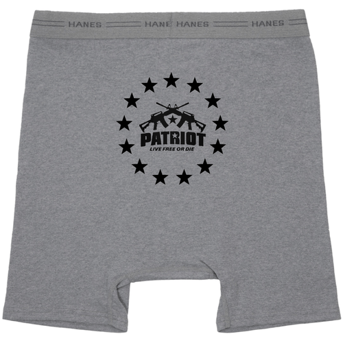 American Patriots Apparel Heather Grey / Small Patriot Live Free or Die Hanes Heather Grey Boxer Brief Underwear