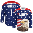 Load image into Gallery viewer, Print Brains Hockey Jersey Eagle America #1 Hockey Jersey / Royal Blue / S Eagle America #1 Hockey Jersey
