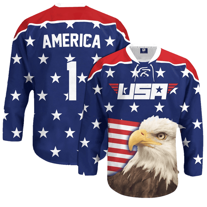 Print Brains Hockey Jersey Eagle America #1 Hockey Jersey / Royal Blue / S Eagle America #1 Hockey Jersey