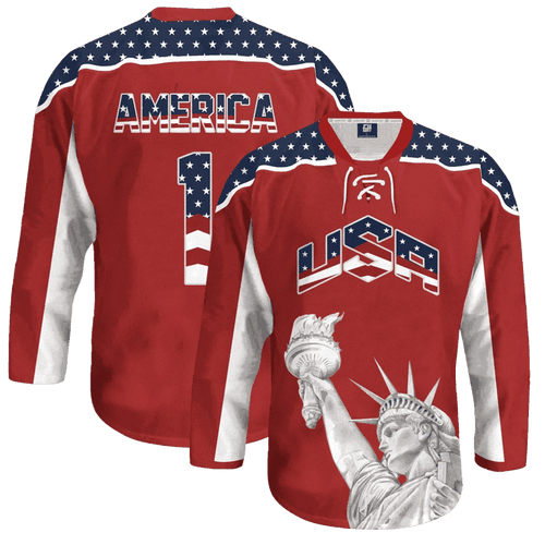 Print Brains Hockey Jersey Liberty America #1 Hockey Jersey / Red / S Liberty America #1 Hockey Jersey