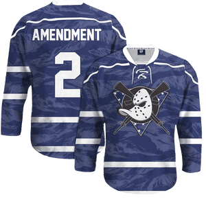 Print Brains Hockey Jersey Mighty Guns Hockey Jersey / Navy / S Mighty Guns Hockey Jersey