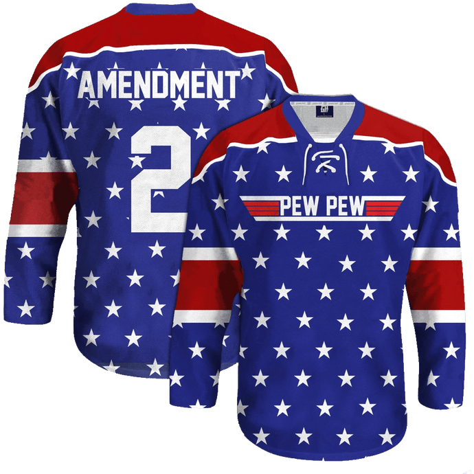Print Brains Hockey Jersey Pew Pew Hockey Jersey / Royal Blue / S Pew Pew Hockey Jersey