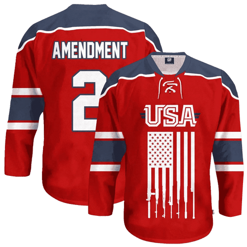 Print Brains Hockey Jersey USA 2nd Amendment Hockey Jersey / Red / S USA 2nd Amendment Hockey Jersey