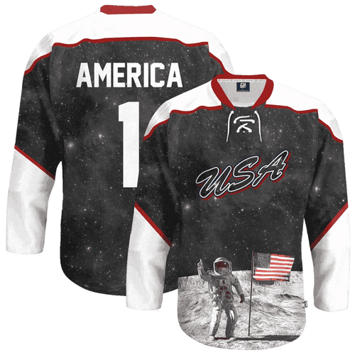 Print Brains Hockey Jersey USA Galaxy Hockey Jersey / Black / S USA Galaxy Hockey Jersey