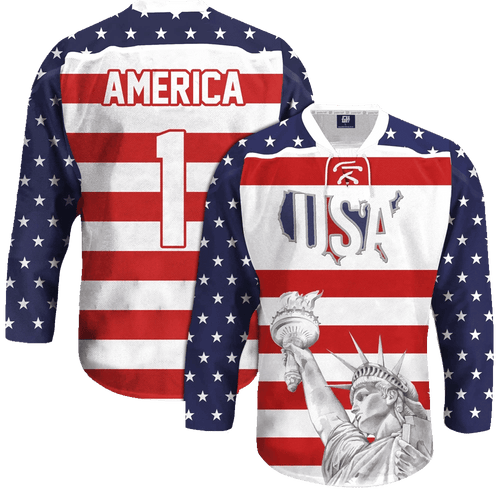Print Brains Hockey Jersey USA Liberty Hockey Jersey / White / S USA Liberty Hockey Jersey