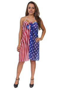 American Patriots Apparel Ladies Cover-Up American Flag (Red, White, & Blue) / One Size Fits Most Gorgeous USA STARS AND STRIPES Sarong Cover-Up Wrap: Long Length