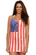 Load image into Gallery viewer, American Patriots Apparel Ladies Cover-Up Red, White & Blue / L Women's USA Distressed Flag Burnout Tank Dress Cover-Up