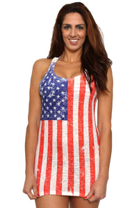 American Patriots Apparel Ladies Cover-Up Red, White & Blue / L Women's USA Distressed Flag Burnout Tank Dress Cover-Up