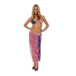 American Patriots Apparel Ladies Cover-Up USA Flag / One Size Fits Most USA Flag Long Sarong Cover-Up