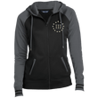Load image into Gallery viewer, CustomCat Ladies Hoodie Black/Dark Smoke / XS III% LST236 Ladies' Moisture Wick Full-Zip Hooded Jacket (5 Variants)