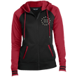 Load image into Gallery viewer, CustomCat Ladies Hoodie Black/Deep Red / XS III% LST236 Ladies' Moisture Wick Full-Zip Hooded Jacket (5 Variants)