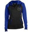Load image into Gallery viewer, CustomCat Ladies Hoodie Black/True Royal / XS III% LST236 Ladies' Moisture Wick Full-Zip Hooded Jacket (5 Variants)