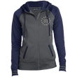 Load image into Gallery viewer, CustomCat Ladies Hoodie Dark Smoke/Navy / XS III% LST236 Ladies' Moisture Wick Full-Zip Hooded Jacket (5 Variants)