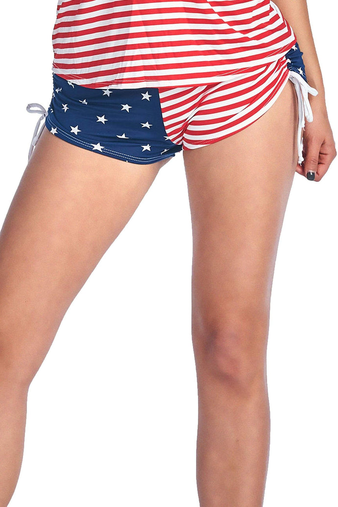 American Patriots Apparel Ladies Swimsuit American Flag / XL Women's Juniors String Shorts USA Flag Bikini Beach Swimwear