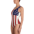 Load image into Gallery viewer, American Patriots Apparel Ladies Swimsuit Distressed Vertical American Flag One-Piece Swimsuit